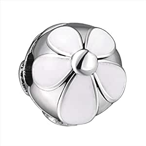 White Floral Spacer Charm by Crystal H Brand for Pandora Bracelet