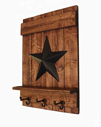 Distressed Honey Brown Wooden Wall Shelf with Metal Barn Star and - Cast Apple Iron Lodge