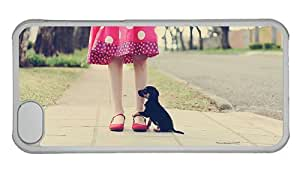 Hipster customized iPhone 5C cases girl puppy PC Transparent for Apple iPhone 5C