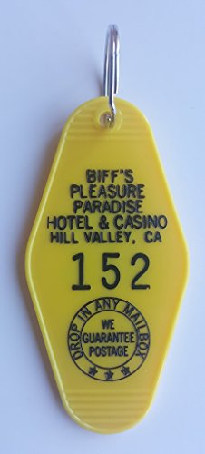 "Biff's Pleasure Paradise Hotel & Casino""The Luckiest Hotel on Earth"" #152 Back to the Future Inspired Key Tag"