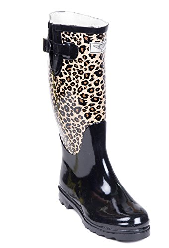 Women Rubber Rain Boots, Safari Designs, Animal Black,6