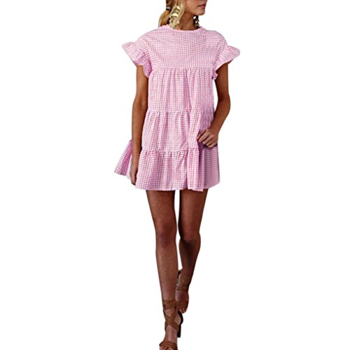 HODOD Summer Women's Ladies Plaid Printing O-Neck Short Sleeve Mini Dress S Pink