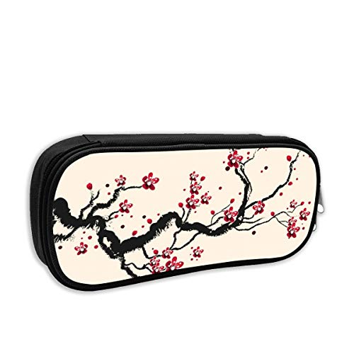 Plum Tree Blossom Ink Painting Chinese Paint Cosmetic Makeup Bag Students Pen/Pencil Case Pouch Pencil Holders
