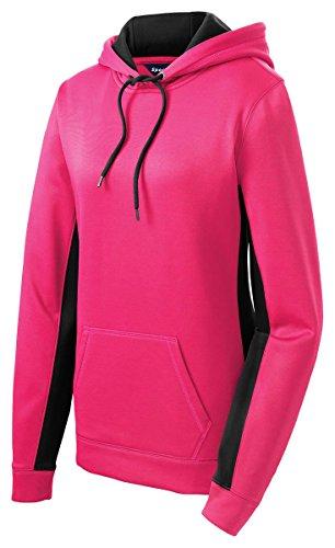 Sport-Tek Ladies Sport-Wick Fleece Colorblock Hooded Pullover, Medium, Neon Pink/ Blk (Fleece Sport Pullovers Hooded)