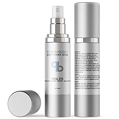 """Pure Biology """"Total Eye"""" Cream with Hyaluronic Acid, Baobab Oil & Anti Aging Complexes to Reduce Dark Circles, Puffiness, Under Eye Bags, Wrinkles & Fine Lines for Men & Women"""