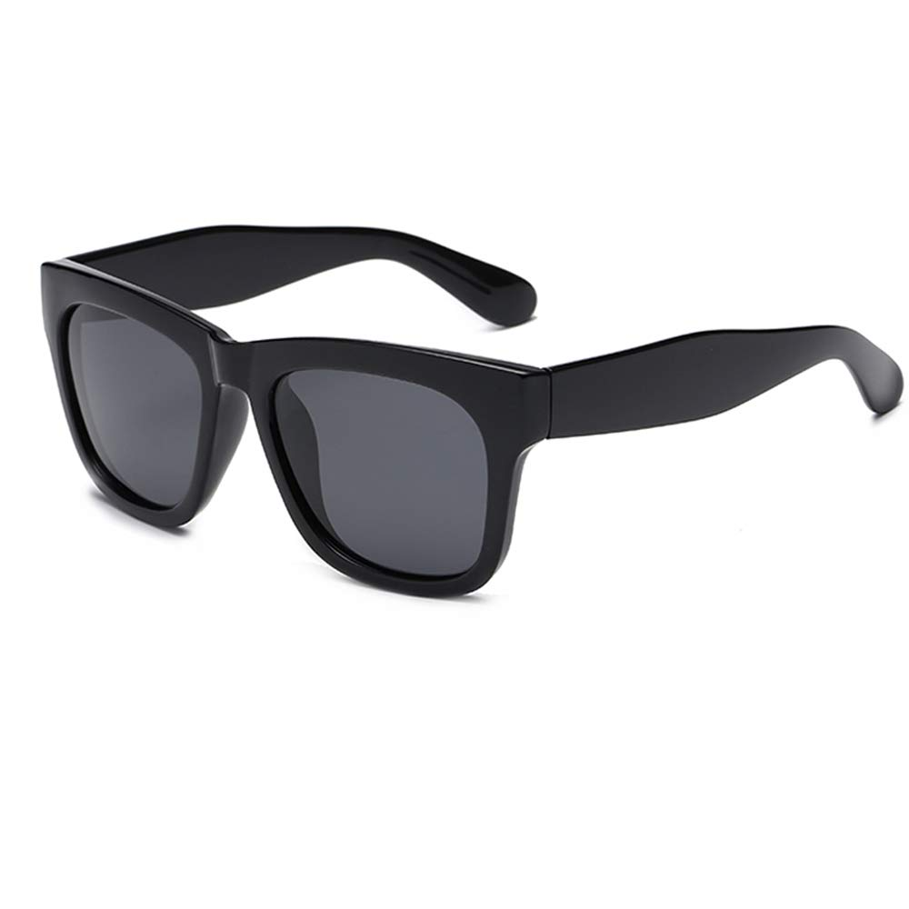 Women's Oversized Cat's Eye Black Sunglasses Men's Classic Rectangular Gradient Lens Anti-radiation UV400 (Matte black, 53)
