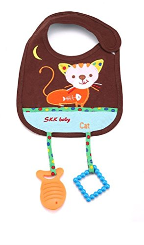 [Baby Bibs with Teether Toy Cat Animal Style Waterproof Cloths Saliva Towel Style] (Infant Red Minnie My First Disney Costumes)