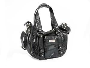 Ju-Ju-Be Behave Earth Leather Diaper Bag, Black/Dizzy Daisies