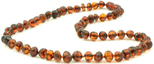 AmberJewelry Baltic Amber Adult Necklace - Dark Cognac Color - 17.7 inches(45cm) Made from Authentic/Polished Baltic Amber Beads {0007}