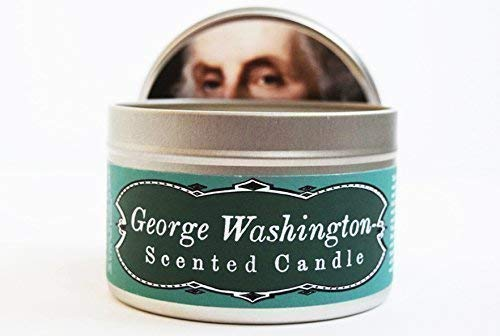 Sprawling Santa - JD and Kate Industries George Washington-Scented Candle | Hand-Poured in 16 oz tin | Whiskey, Wood and Black Cherry Scent