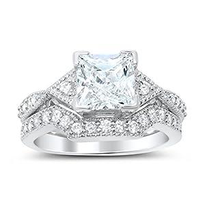 Princess Cut CZ Wedding Ring Set in Sterling Silver