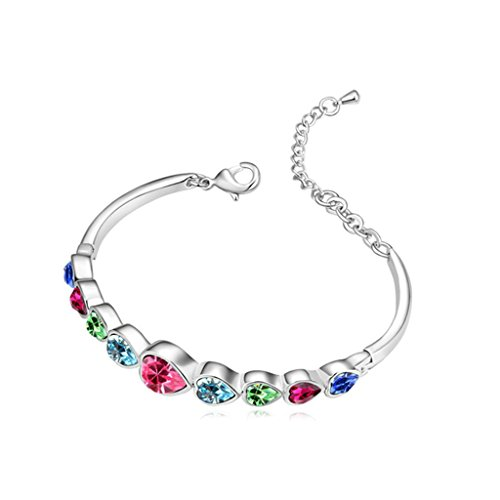 Platinum Decorative Heart Pan (Beydodo White Gold Plated Bracelet For Women (Link-Bracelets),Austria Crystal Oval Heart Colorful CZ 16CM)