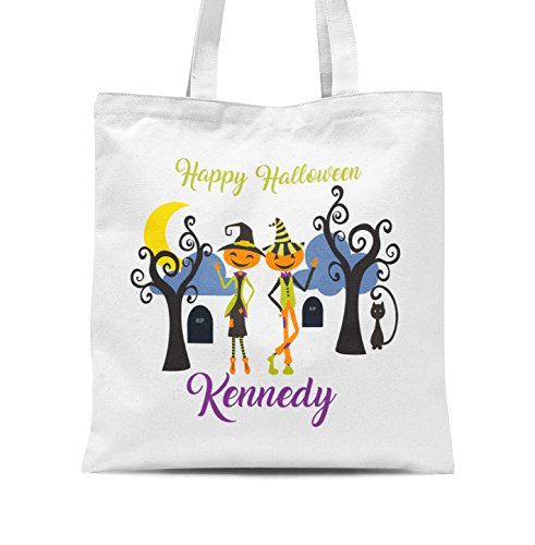 Halloween Tote Bag - Pumpkin Couple Personalized Name Trick or Treat Tote (Full Name For Halloween)