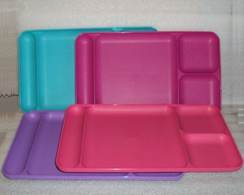 Tupperware Divided Dining TV Trays Picnic Kids Lunch Plates Bubblegum Colors Rare (Tupperware Kids Trays)