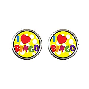 Chicforest Silver Plated I Love Bingo Photo Stud Earrings 10mm Diameter