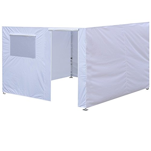 (Eurmax Full Zippered Walls for 10 x 10 Easy Pop Up Canopy Tent,Enclosure Sidewall Kit with Roller Up Mesh Window and Door,4 Walls ONLY,White )