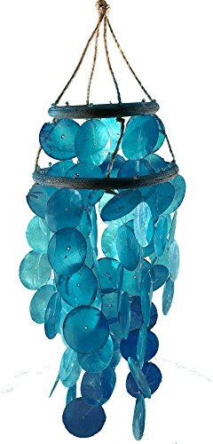 Chesapeake Bay Ocean Blue Capiz Shell Wind Chime One Size Blue (Capiz Hanging)