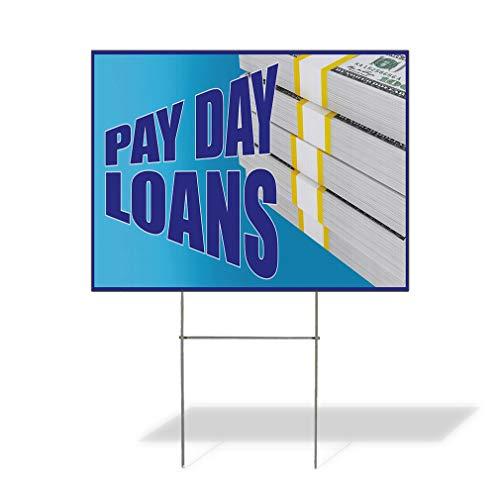 Plastic Weatherproof Yard Sign Pay Day Loans Business Dollar Money Loans Black Pay Day Loans for Sale Sign Multiple Quantities Available 18inx12in One Side Print One Sign