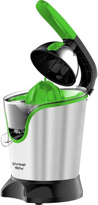 Grunkel - Exprimidor de cítricos eléctrico con mango con revestimiento y función START/STOP - 180W - Acero inoxidable (180W)