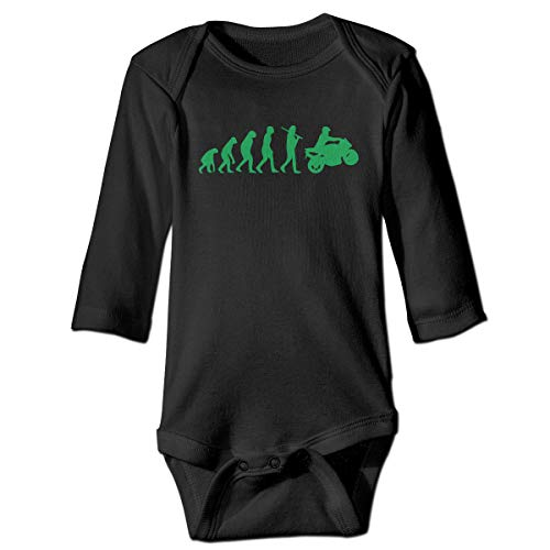 Toddler Baby Girls Motorcycle Evolution Long Sleeve Romper Jumpsuit, Comfortable Cotton Bodysuit Outfits Clothes Black ()