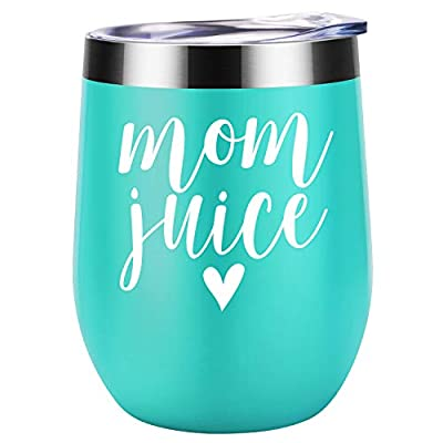 Mom Juice | Funny Mom Gifts for Mother's Day from Daughters, Sons or Husband | Best Mom Presents for Mom Birthday, Wife, Women, Her | Coolife 12 oz Stainless Steel Stemless Insulated Wine Tumbler Cup