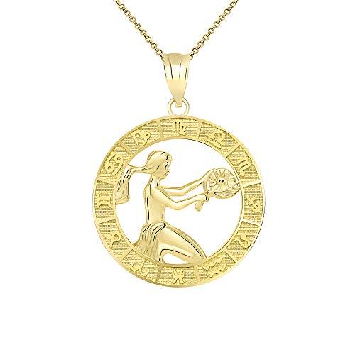 CaliRoseJewelry 14k Yellow Gold Virgo Zodiac Pendant Necklace, 20