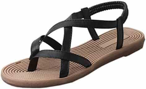 ae3835c9c449 XUANOU Women Bohemia Style Flat Shoes Bandage Leisure Sandals Outdoor  Peep-Toe Shoes