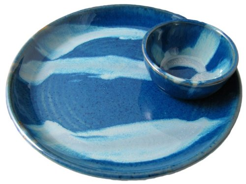 (PRADO STONEWARE COLLECTION - Nacho/Salsa Tray One Piece Chip & Dip Plate With Attached Bowl - Royal Blue)