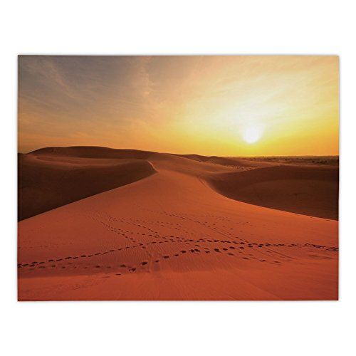 iPrint Rectangular Satin Tablecloth,Desert,Footprints on Sand Dunes at Sunrise Hot Dubai Landscape Travel Destination,Dark Orange Yellow,Dining Room Kitchen Table Cloth Cover
