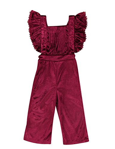 Pudcoco Baby Girls' Pleated Ruffle Velvet Overalls Toddler Bodysuit Kids Soft Flare Pants Jumpsuit (Wine red, 4-5Y) ()