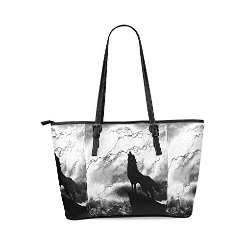 InterestPrint Wolf in Silhouette Howling to Thunderstorm Women's Leather Tote Shoulder Bags Handbags (Shoulder Bag Storm)