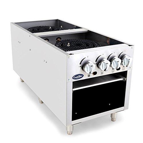 CookRite ATSP-18-2 Two Burner Stock Pot Stove Natural Gas Stainless Steel Countertop - 160,000 BTU ()