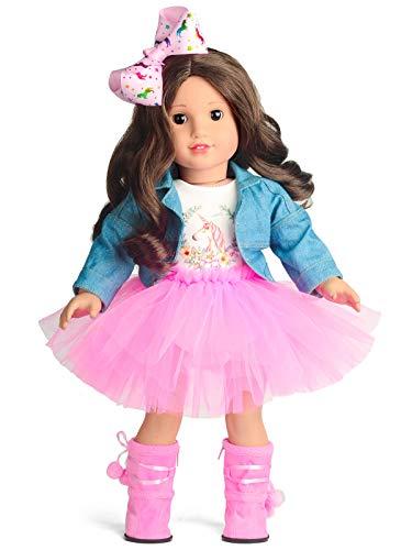 sweet dolly Doll Clothes Denim Jacket Unicorn Tutu Dress fits 18 Inch American Girl Doll