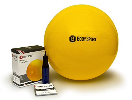 (Body Sport Exercise Ball with Pump for Home, Gym, Balance, Stability, Pilates, Core Strength, Stretching, Yoga, Fitness Facilities, Desk Chairs - Yellow 65cm)