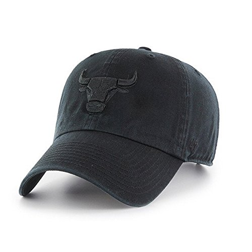 47 Brand Chicago Bulls CLEAN UP Black/Black CURRENT LOGO Dad Hat Cap