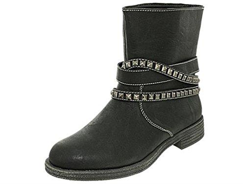 A13toscania012 Noir Toscania Bottes Noir Motardes Chaussures Femme HxwXccqRFp