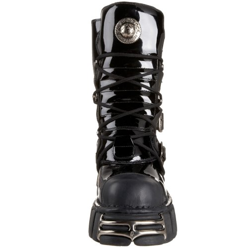 Leather Rock boots M Black Metallic 373 New S1 6qR4zp