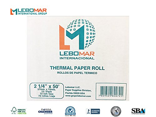 - 2-1/4 x 50' (Pack of 72 ROLL) Credit Card Thermal Paper For Ingenico ICT220 & Receipt Printers & Cash Register - FSC Certificacion From LEBOMAR INTERNATIONAL