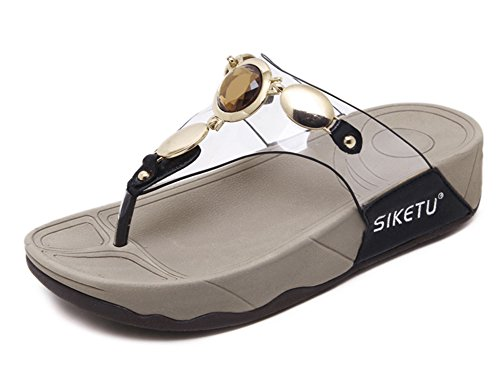 Aisun Kvinners Comfy Tykk Såle Klipp Tå Klar Gelé Plattform Flat Thong  Lysbilde Sandaler Flip Flops