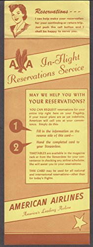 American Airlines In Flight Reservations Service Card Mailer 1950S
