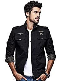 Men's Casual Long Sleeve Military Uniform Full Zip Jacket with Shoulder Straps M-6XL