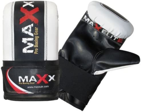 Maxx 12Piece Black Silver Boxing Set 5ft 4ft 3ft Filled Heavy Punch Bag Gloves Bracket Chains MMA UFC