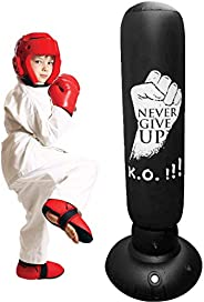 Inflatable Kids Punching Bag – Free Standing Ninja Boxing Bag for Immediate Bounce-Back for Practicing Karate,