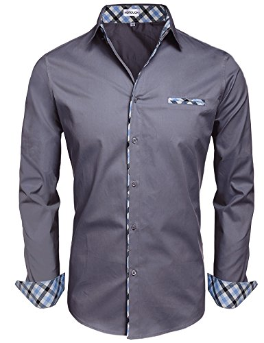(Hotouch Men's Slim Fit Long Sleeves Casual Button Down Dress Shirts Dark Grey)