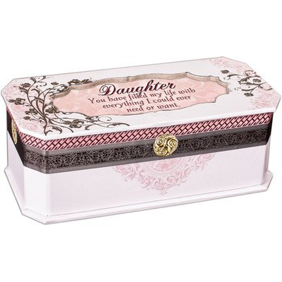 Daughter Simply Classic Petite Belle Papier Musical Keepsake Jewelry Box - Plays Song Wind Beneath My Wings (Belle Musical Jewelry Box)