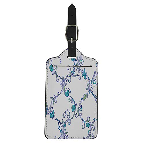 Semtomn Luggage Tag Digital Moroccan Trellis Floral Cute Little Spring Flowers Suitcase Baggage Label Travel Tag ()