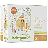 Babyganics Ultra Absorbent Diapers, Size 5, 136 Count