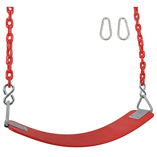 Swing Set Stuff Inc. Swing Set Stuff Commercial Polymer Belt Seat 5.5 Ft. Coated Chain and SSS Logo Sticker... , Red