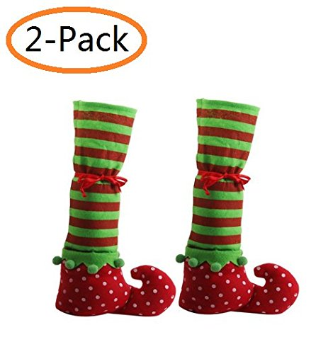 A-Smile@ Christmas Elf Elves Feet Shoes Legs,Elf Shoe Elves Shoe Chair Leg Covers Desk Table Leg Covers & Red Wine Bottle Covers for Christmas Party Decorations,(2-Pack) for $<!--$6.99-->