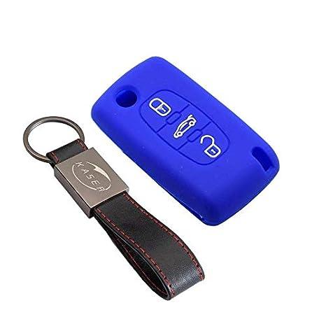 Coque Cover Porte-Cl/és 3 Boutons pour 207 307 407 308 C1 C2 C3 C4 Protection T/él/écommande Voiture kaser Housse /étui en Silicone pour Cl/é Peugeot Citroen Noir